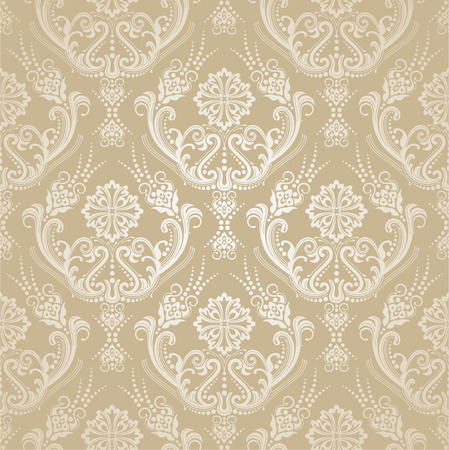 Seamless golden floral victorian style damask wallpaper pattern. This image is a vector illustration.
