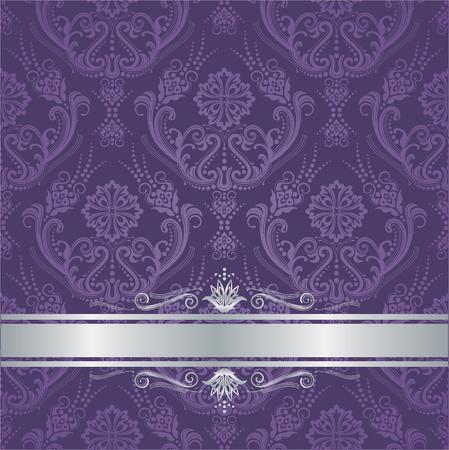 Luxe paarse victorian stijl bloemendamast behangdekking met zilveren grens. Deze afbeelding is een vectorillustratie.