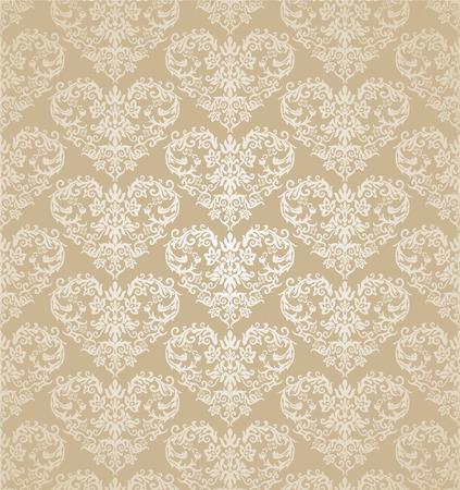 Naadloze bloemen harten gouden damast behang. Deze afbeelding is een vectorillustratie.