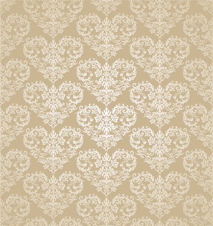 Seamless floral hearts golden damask wallpaper. This image is a vector illustration. Illustration