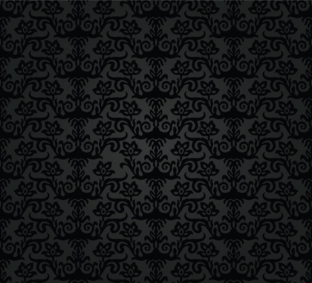 Black charcoal floral seamless pattern. Çizim