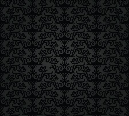 Zwart houtskool bloemen naadloos patroon.