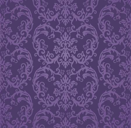 Luxe paars houtskool bloemen naadloos patroon. Stock Illustratie
