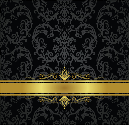 Black floral wallpaper seamless pattern and gold ribbon with decorative swirls. Illustration