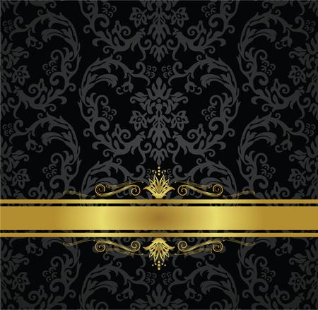 Zwart bloemenbehang naadloos patroon en gouden lint met decoratieve wervelingen.