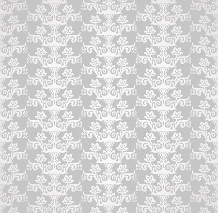 Silver victorian style floral wallpaper seamless pattern.