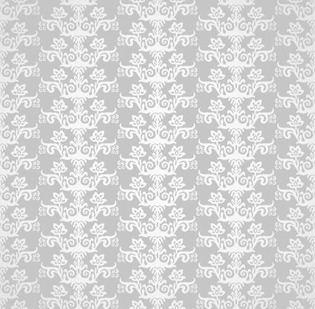 Zilveren victoriaans stijl bloemenbehang naadloos patroon.