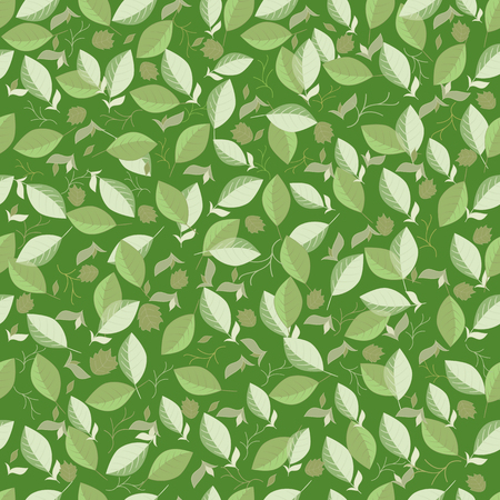 Natural eco seamless pattern with green leaves. Natural background for eco design. Vector illustration.