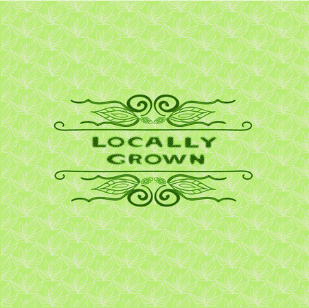 Background with words locally grown. Farm product labels. Locally grown. Illustration