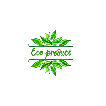 Background with word eco. Farm product labels. Eco product.