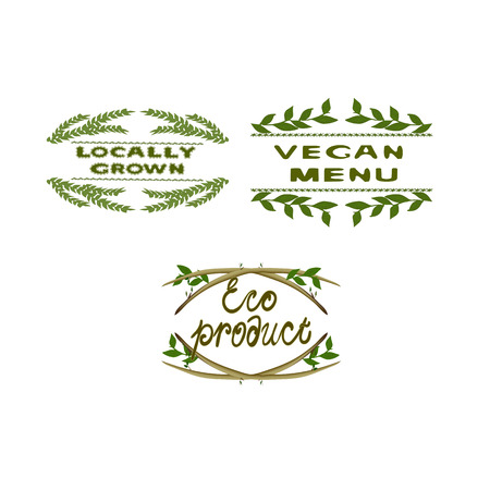 Background with word eco. Farm product labels. Locally grown. Farm for life. Eco product.