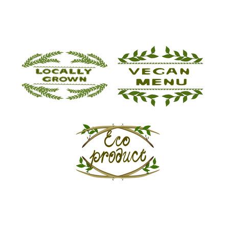 Word 環境と背景。ファーム製品ラベル。地元産。生活のためのファーム。エコ製品です。