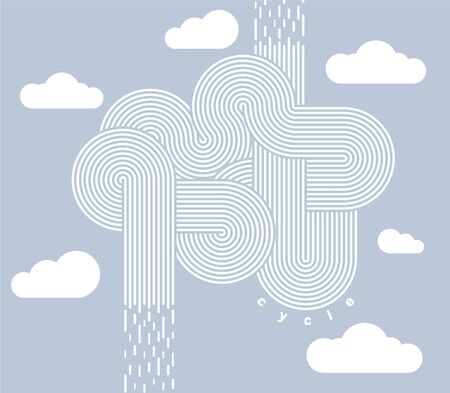 Minimalist style poster. Abstract image of a rain cycle. Vector illustration.Line art 일러스트