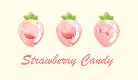 Strawberry is gradually filled with sweet filling on a light background. Vector illustration