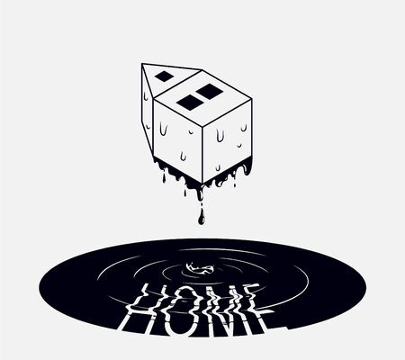 Abstract vector illustration. Water flows from an isometric house forming a lake under it