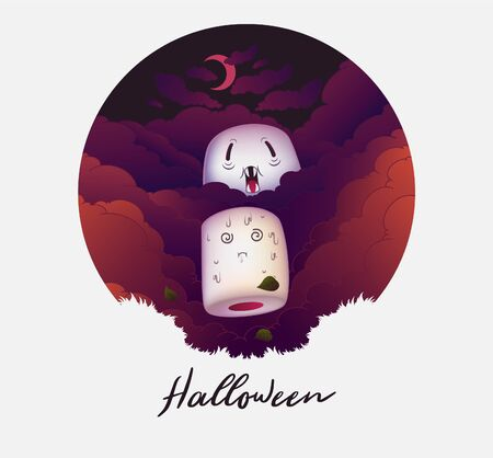 Hidden in the autumn fog, the marshmallow vampire follows its sweet target. Halloween poster. Vector illustration Иллюстрация
