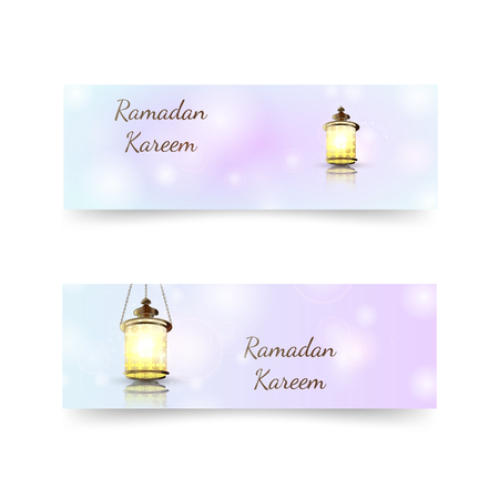 Ramadan Kareem lantern on a sparkle texture background. Glow Arabic illustration, Ramadan invitation card on a glow pastel background. Design template for flyer, banner, invitation cards.