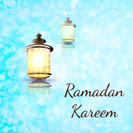 Ramadan Kareem lantern on a sparkle texture background. Glow Arabic illustration, Ramadan invitation card on a glow pastel background. Design template for flyer, banner, invitation cards.