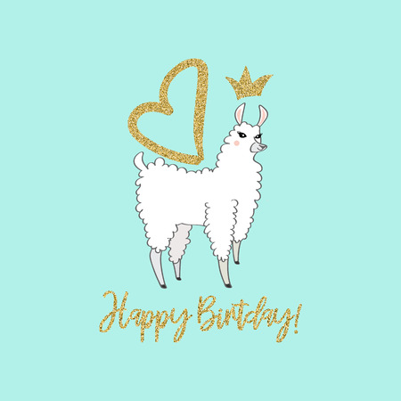 Cute llama with crown and wings. Perfect for posters, greeting cards, invitations, children room decor stickers, greeting cards, notebooks and other childish accessories. Hand drawn style.
