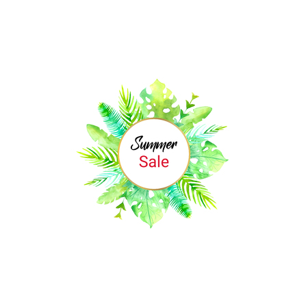 Summer sale watercolor golden frame palm leaf and exotic flower desing template. Floral flayer or discount voucher template. Trendy summer illustration. Tropical leaves texture background