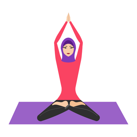 Arab woman with hijab in lotus yoga pose. Young woman wearing hijab, practicing yoga icon. The concept of Healthy lifestyle. icon for yoga center. Stretching posture.Relaxing and calm.Health activity.