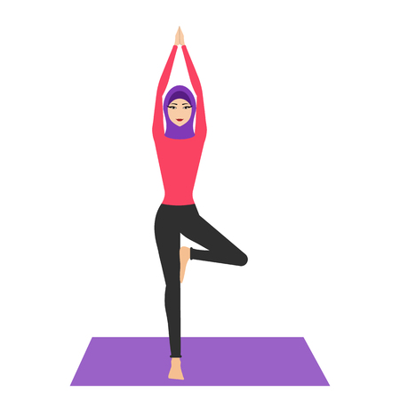 Arab woman in yoga pose with hijab. Young woman wearing hijab, practicing yoga icon. The concept of Healthy lifestyle. icon for yoga center. Stretching posture. Relaxing and calm. Health activity. Ilustrace