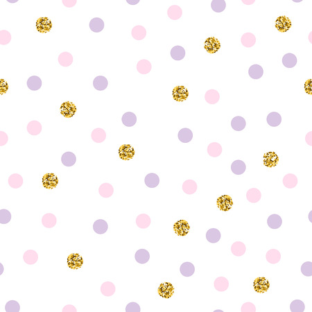 Polka dot seamless vector pattern with glittering dots. Luxury polka dot pattern. Bright holidays background. Gold glitter pattern. Shiny dot for wedding, invitation, wrapping, textile, baby shower