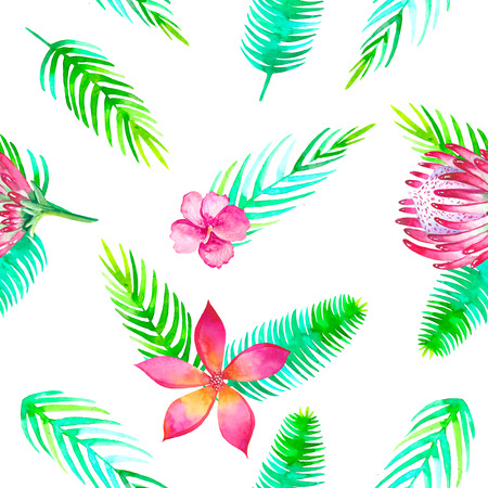 Summer beach cheerful seamless pattern wallpaper of tropical green leaves jungle floral romantic elements. Protea and gibiscus and magnoliaEndless texture summer season white background of palm tree