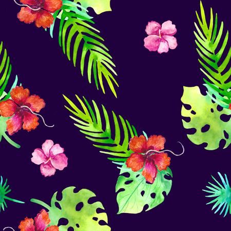 Summer seamless tropical pattern with jungle floral romantic elements - protea and gibiscus. Endless texture for season spring and summer design on ultra violet background