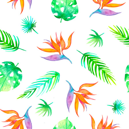 Summer seamless tropical pattern Strelitzia with exotic flower - bird of paradise. Endless texture for season spring and summer design on ultra violet background Banque d'images