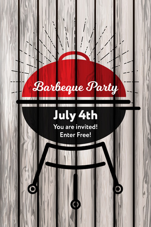 Vector illustration 4th Julyconcept Barbeque party invitation card on the retro background. Bbq party with grill retro design on wooden background and ray, sunburst