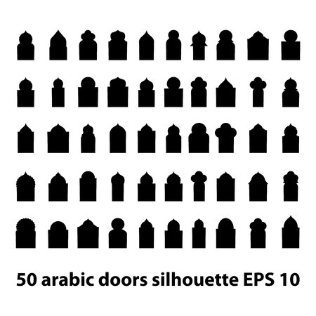 Vector set of 50 arabic doors and windows gate silhouette isolated on white background. Ramadan kareem shapes of windows and gates. Vector symbol traditional islamic arches
