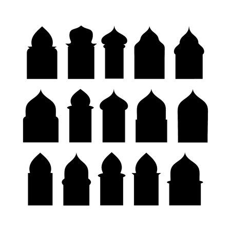 Un insieme di vettore di 50 porte e finestre arabe porta silhouette isolato su sfondo bianco Ramadan kareem forme di finestre e cancelli. Archi islamici tradizionali di simbolo di vettore