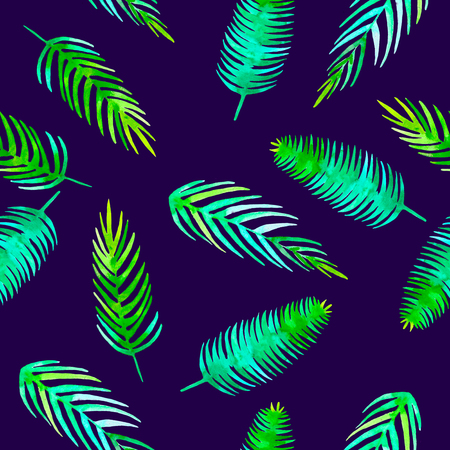 Watercolor Summer seamless tropical pattern with jungle leaf romantic element coconut palm, monstera, banana leaves. Endless texture on ultra violet background.Textile,wrapping, paper,fabric fashion.