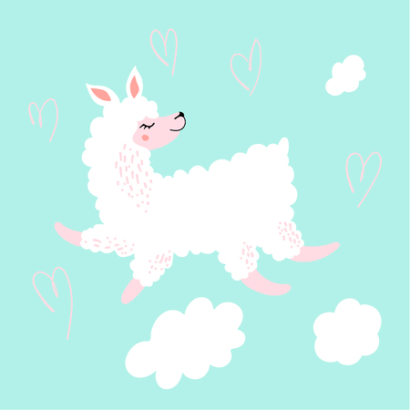 Cute Lama cartoon character in the air.Love the llama.Perfect for poster, greeting card, invitation, children room decor, sticker, notebook and childish accessories print.Hand drawn doodle style Illustration