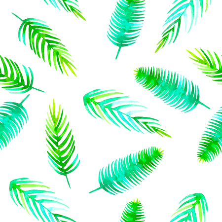 Watercolor Summer seamless tropical pattern with jungle leaf romantic element coconut palm, monstera, banana leaves. Endless texture on white background.Textile,wrapping, paper,fabric fashion Banque d'images