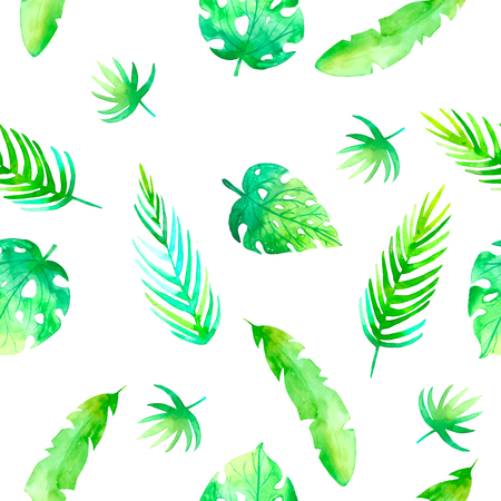 Summer seamless tropical pattern with jungle floral romantic elements - protea and gibiscus. Endless texture for season spring and summer design on white background Banque d'images