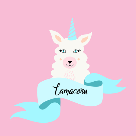 Cute Lama cartoon with blue ribbon on white background. Love the llama.For poster, greeting card,invitation,child room decor,sticker, notebook,childish accessories print, phone case.Hand drawn doodle