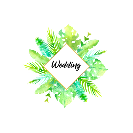 Watercolor ftropic wedding card.Frame poster blank.Hand painted plants, monstera, banana leaf, palm branch isolated on white background.Botanic design template.Summer concept. Hand drawn illustration