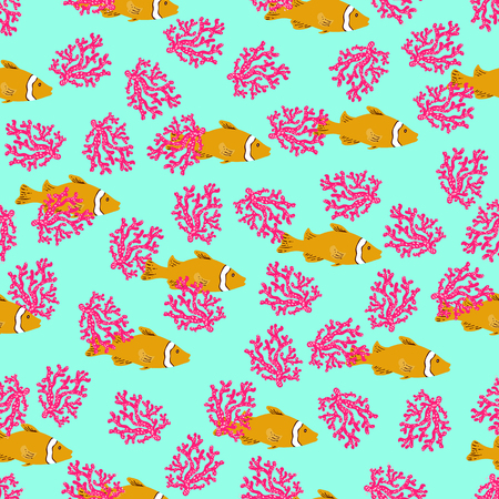 Tropical reef seamless pattern anemone fish.Hand drawn clownfish ocean colorful underwater background.Vacation, holiday, travel, summer. Sea life ideal for wallpaper, pattern fill, web,surface,textile