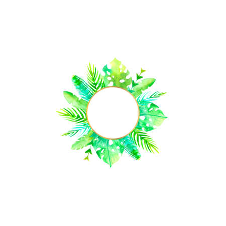 Watercolor ftropic wedding circle frame.Poster blank.Hand painted plants,monstera, banana leaf, palm branch isolated on white background.Botanic design template.Summer concept. Hand drawn