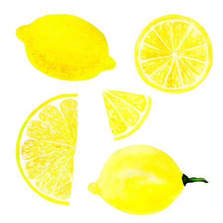 Watercolor lemon set juicy fruit and lemon slice isolated on white background. Hand painted food illustration Design. Healthy vegan food. Can be used as greeting card for birthday, wedding, healthy