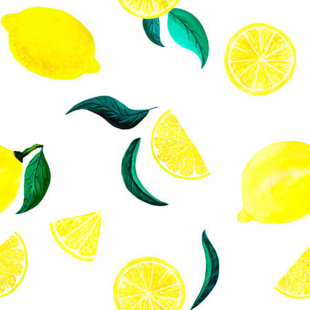 Watercolor citrus lemon pattern with leaves. Citrus seamless pattern, botanical natural illustration on white background. Hand drawn watercolor painting. Organic pattern