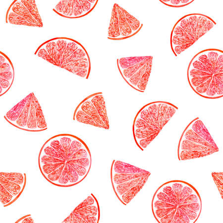 Watercolor citrus pattern grapefruit, floral seamless pattern, botanical natural illustration on white background. Hand drawn watercolor painting. Organic pattern