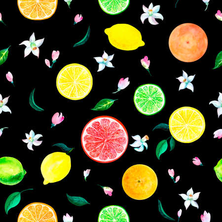 Watercolor citrus pattern blooming orange, lime, grapefruit, lemon twig with flowers, floral seamless pattern, botanical natural illustration on white background. Hand drawn watercolor painting.