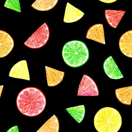 Watercolor citrus pattern with grapefruit, lime, orange, lemon slice. Citrus seamless pattern, botanical natural illustration on black background. Hand drawn watercolor painting. Organic pattern.