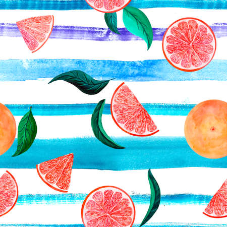 Watercolor citrus pattern grapefruit, floral seamless pattern, botanical natural illustration on turquoise violet stripe background. Hand drawn watercolor painting. Organic pattern