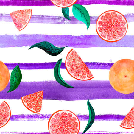 Watercolor citrus pattern grapefruit, floral seamless pattern with leaves, branch botanical natural illustration on ultra violet stripe background. Hand drawn watercolor painting. Organic pattern