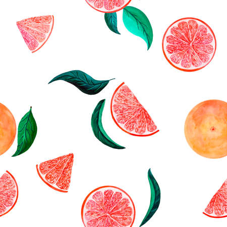 Watercolor citrus pattern grapefruit, floral seamless pattern with branch, botanical natural illustration on white background. Hand drawn watercolor painting. Organic pattern