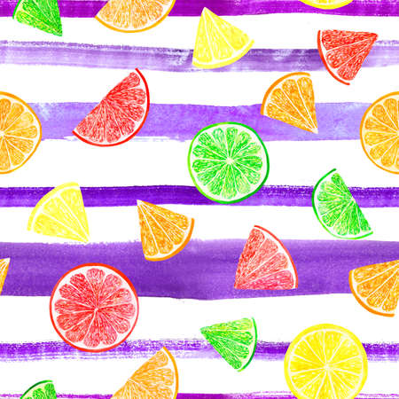 Watercolor citrus pattern with grapefruit, lime, orange, lemon slice on striped background. Citrus seamless pattern, botanical natural illustration on white background. Hand drawn watercolor painting.